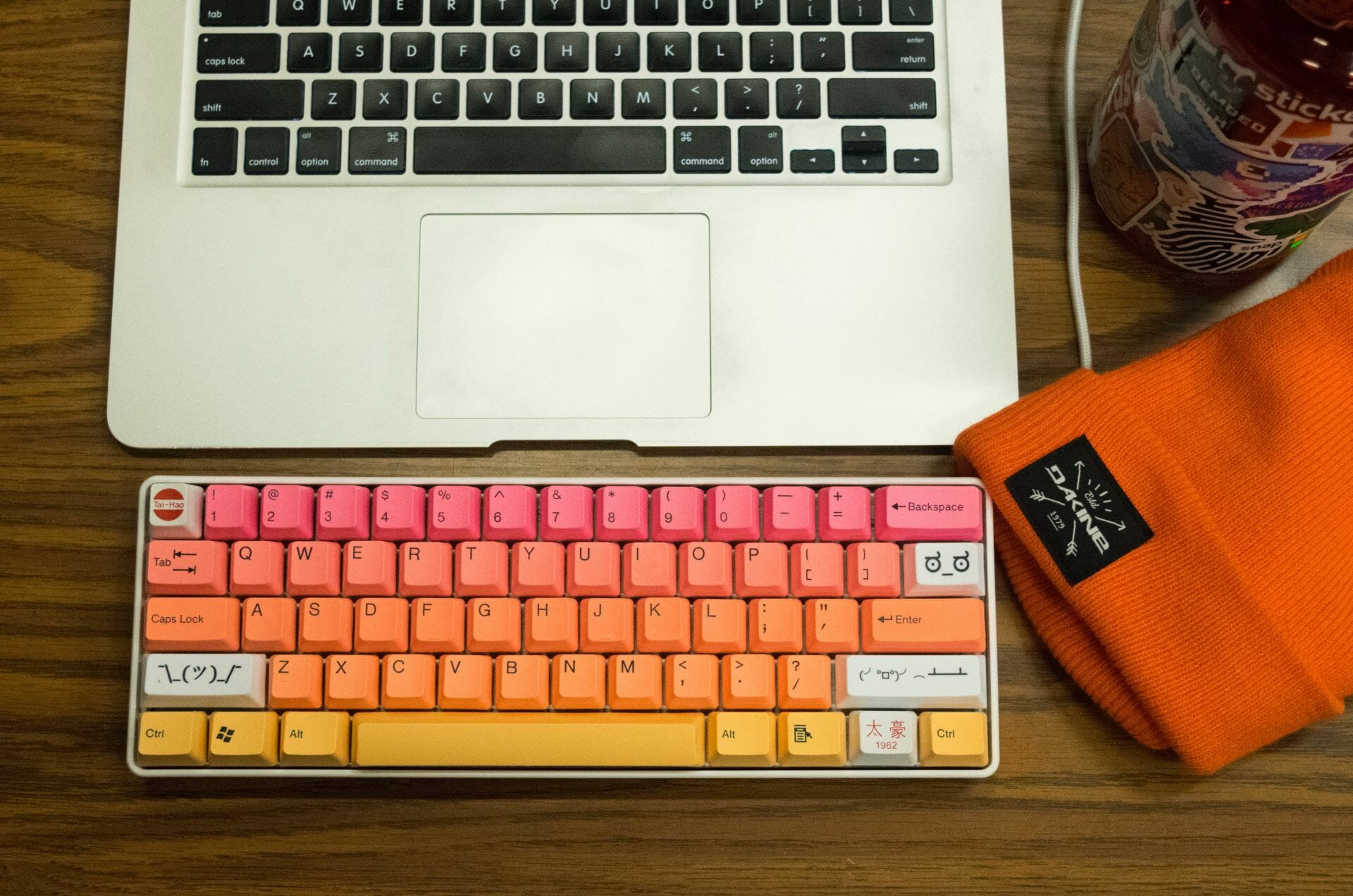 multicolored keyboard and laptop