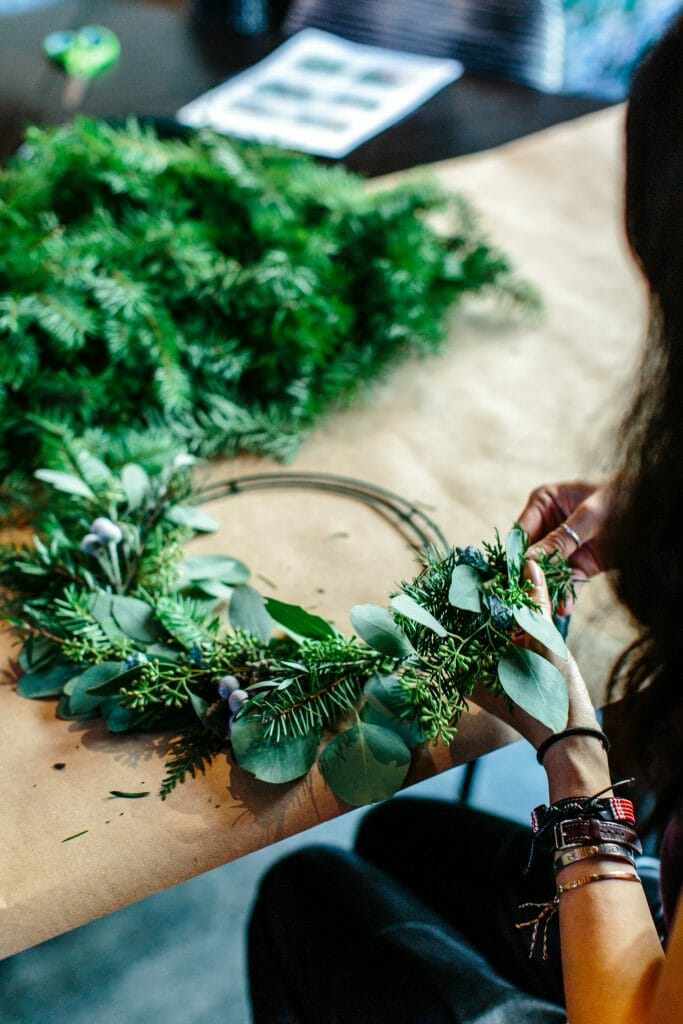 woman-crafting-a-wreath-when-stressed