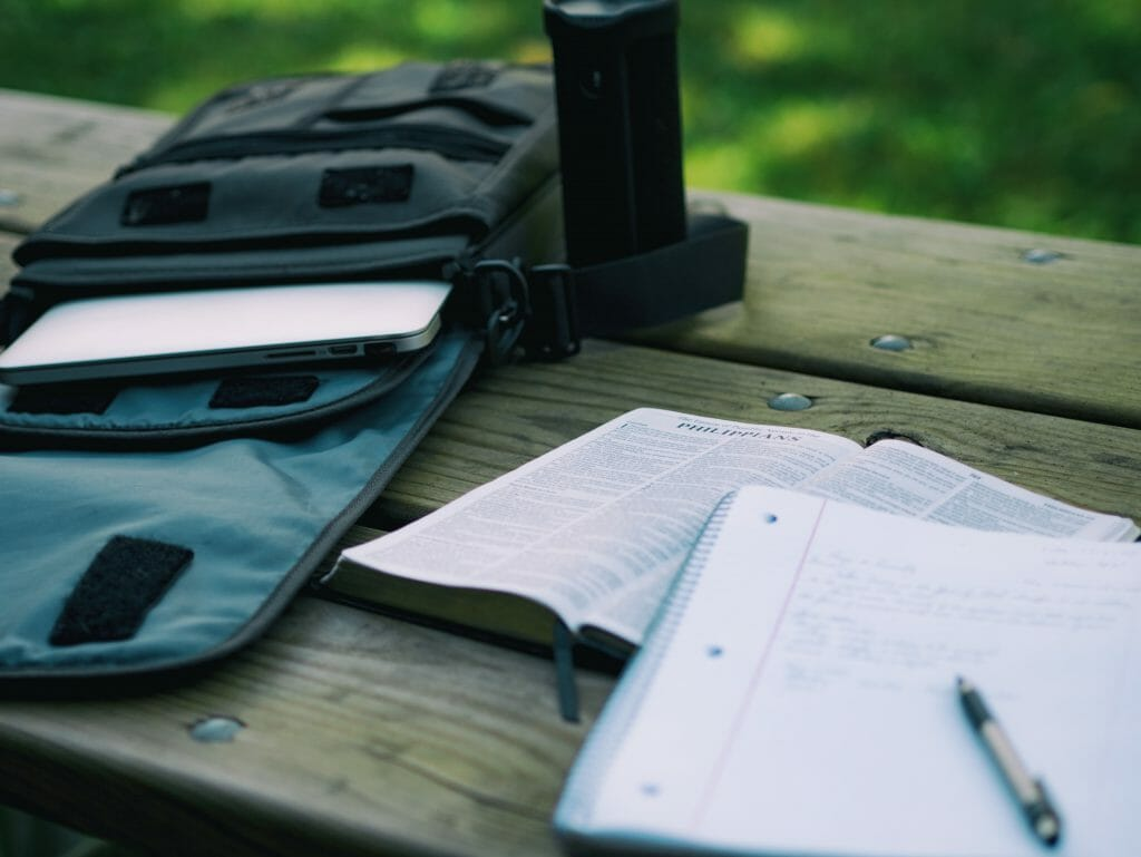 homework sitting on picnic table
