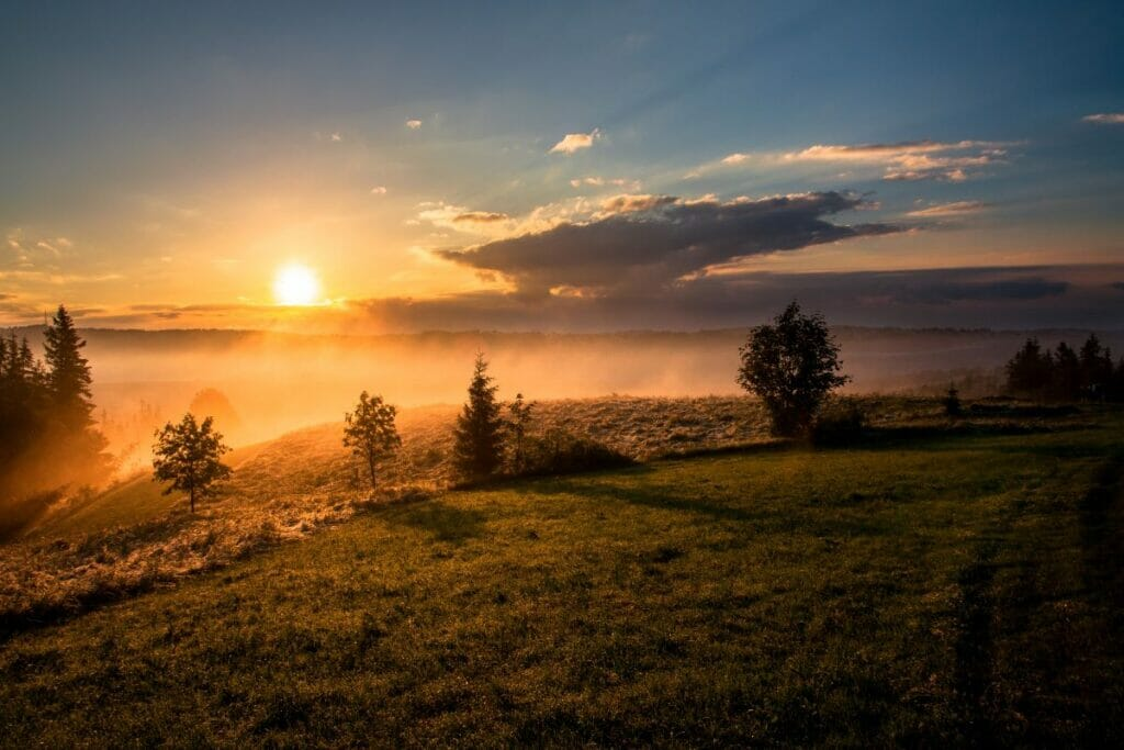 sunrise over a landscape