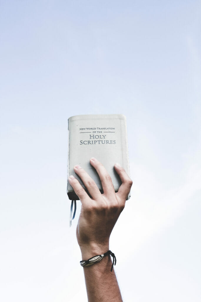 hand holding up the bible